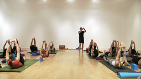 Ground & Open, Part 1: This class focuses on deeper work in forward bends, hip openers and twists.  It will open your legs, pelvis and spine, leaving you feeling deeply grounded and calm.  These poses are highly effective for detoxification, centering and relaxation.  This class is part I of 2 in a sequence to the seated forward bend called paschimottanasana.    