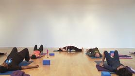 Nap or Yoga? This class provides an easy answer to this conundrum by offering both, or at least a sweet supine hip-opening practice with the feeling of a long savasana. We use two blocks for this practice that begins with a series of supine (laying down) poses to release the knots that are tied up in the hips. Between sides, we have an interlude of bridge with a block and before savasana we find support for the upper body with a backbend with two blocks. Throughout, we focus on the breath and directing the breath into the parts of the body that may be rigid in order for us to experience the ultimate in sweetness.