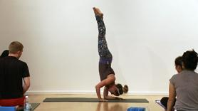 Playful class that incorporates handstand into the flow of our Sun Salutations B. We dive through a short standing sequence followed by 'funky' variations for plank, dolphin, arm balance and forearm stand.