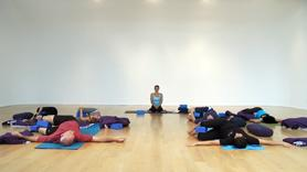 This restorative class is perfect for the end of a hard work day or work week as a way to unwind and let go of pent up tension. For a real restorative treat have ready a bolster, blanket and 2 blocks. Starting with slow spinal rolls we gently work our way up from the base of the spine and the hips, into supported back bends and easy spinal twist. We finish in reclined cobblers pose (supta baddha konasana). Please note that there is no savasana in this class. Blessings ~