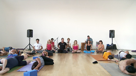 6 talented teachers: John Sahakian, Ashley Turner, Kishan Shah, Jo Tastula, Tara Judelle and Isabelle Du Soleil give a very original and unique sequenced class.  Each teaching 20 minutes that seamlessly flows together.  Accompanied with live music by DJ Drez, Domonic Dean Breaux and Shannon Michael Terry.